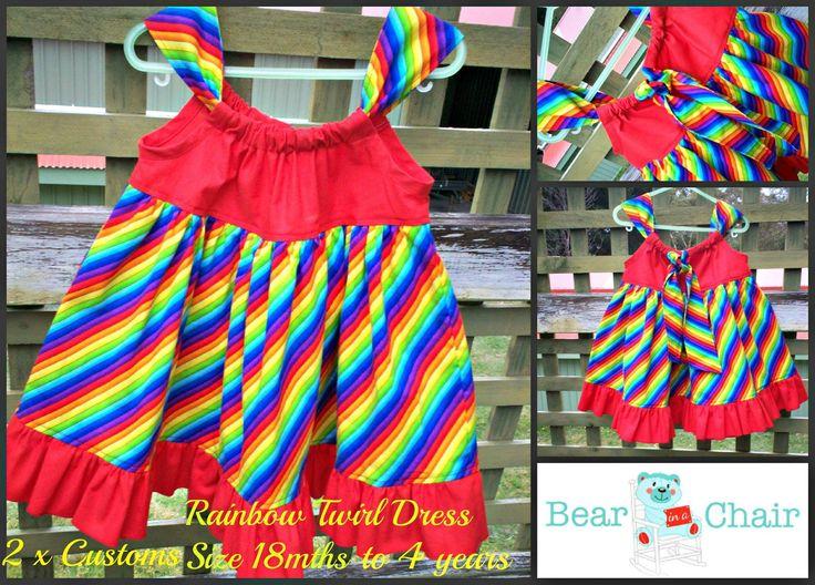 Handmade By Bear In A Chair Rainbow Twirl Pillowcase Dress