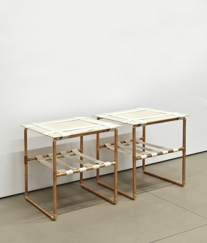 Maru side tables by David Chang. Copper Pipe, Baltic Birch Plywood, and Canvas webbing.