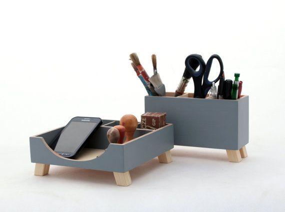 FREE SHIPPING   Desk Organizer Wood set  by ClockWoodStudio