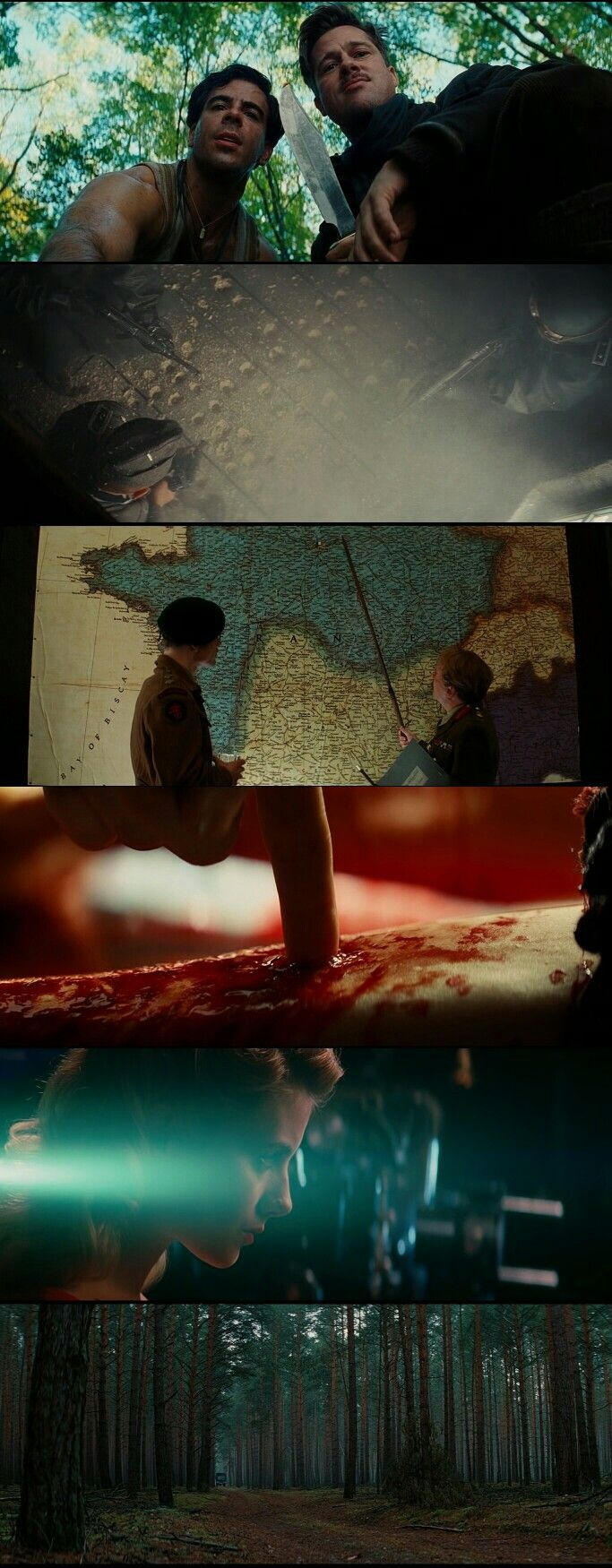 Inglourious Basterds(2009) Directed by Quentin Tarantino. Cinematography by Robert Richardson.