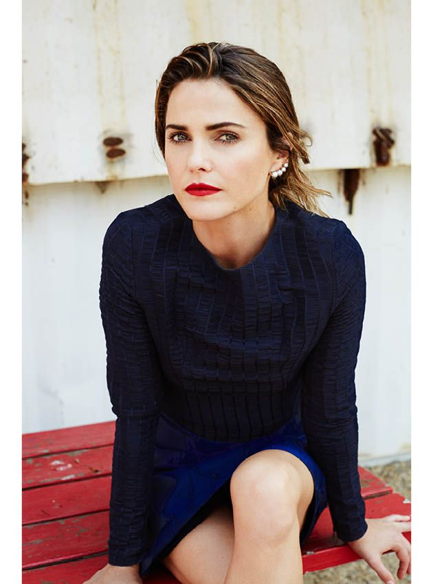Keri Russell - Brooklyn Magazine - Katie Emilio top, Camilla and Marc skirt, Ana Khouri earrings.