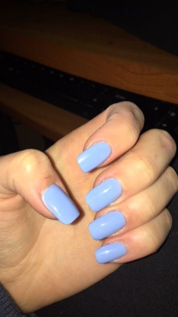 Acrylic Acrylics Blue Baby Blue Light Blue Nails Short Rounded