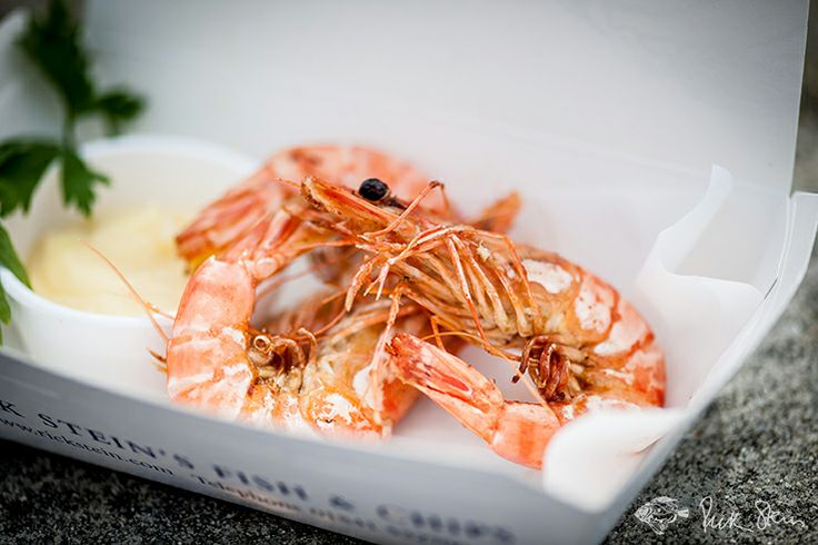 Prawns with garlic mayonnaise,  homemade to Rick Stein's recipes from Stein's Fish and Chips in Padstow