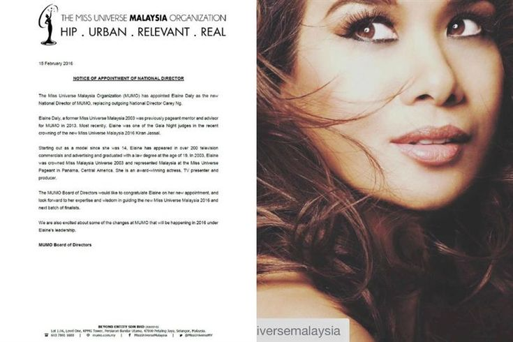 Elaine Daly appointed as the new National Director of Miss Universe Malaysia
