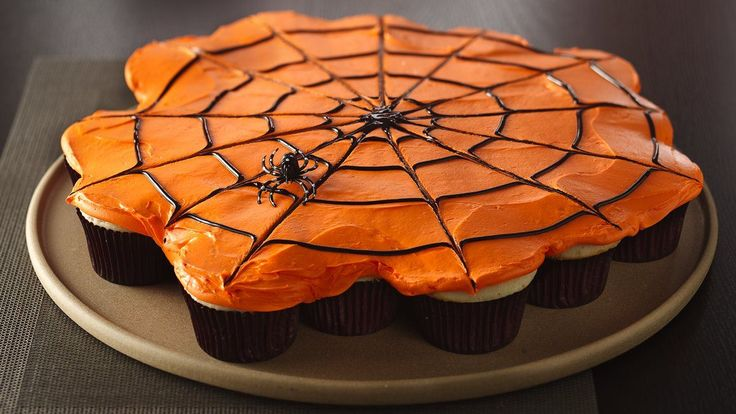 Pull-Apart Spiderweb Cupcakes recipe and reviews - Treat your family with a perfect Halloween dessert! Enjoy these wonderful spiderweb cupcakes made with Betty Crocker* SuperMoist* Cake Mix and Betty Crocker* Frosting.