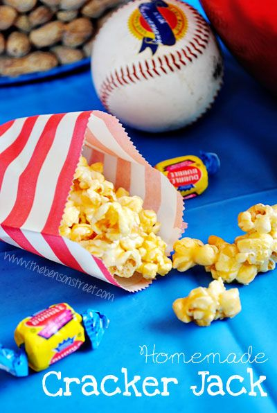 Homemade Cracker Jacks - 2 bags popped microwave popcorn, 1/2 cup brown sugar, 1/2 cup sugar, 1/2 cup butter, 1/4 cup honey, 1/2 cup peanuts.  Mix popcorn & peanuts. Mix together all other ingredients in a pot. Cook 5 minutes on medium heat. Bring to a boil. Pour over popcorn and peanuts. Stir well. Put mixture on a large cookie sheet and bake at 125 degrees for 1 hour stirring every 15 minutes. Add your own surprise! :)