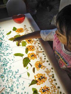 Flores y hojas en la mesa de luz #jugaryexperimentar
