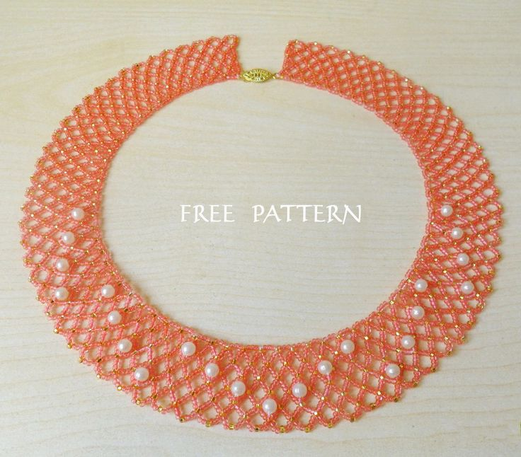 Free pattern for beaded necklace Peach Blossom U need: seed beads 11/0 pearls 6 mm