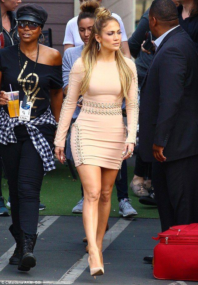 Jennifer Lopez Wears Super Tight Flesh Toned Dress For