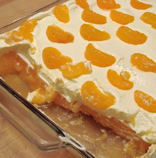 MANDARIN ORANGE WHIPPED SALAD  3 cans Mandarin oranges 3 oz. cream cheese 8 oz. Cool Whip 3 oz. orange Jell-O  Open and drain all canned fruit.   Soften cream cheese in a large bowl. Mix Cool Whip and dry Jell-O (just the powder) with the cream cheese. Make sure that all of the sugar/powder from the Jell-O is dissolved.  Add the canned oranges This may be served immediately, but chilling the salad for 30 minutes to an hour before serving is best.