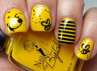 Yellow nail polish design :)