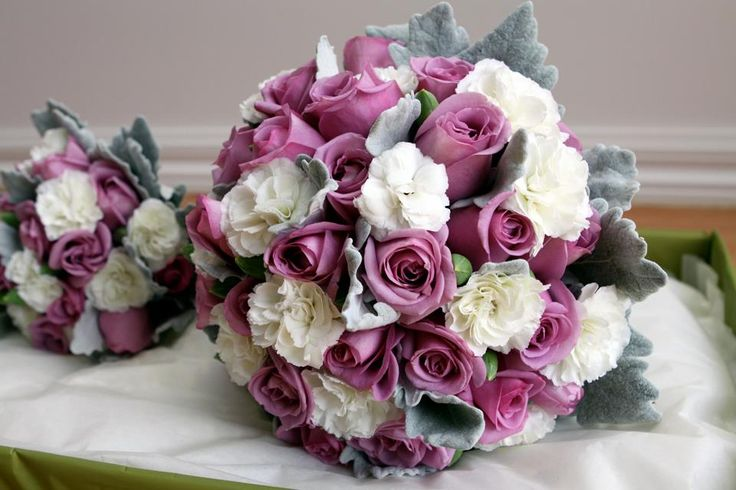 Cool water roses & white carnations with silver suede #weddings  www.RedEarthFlowers.com.au