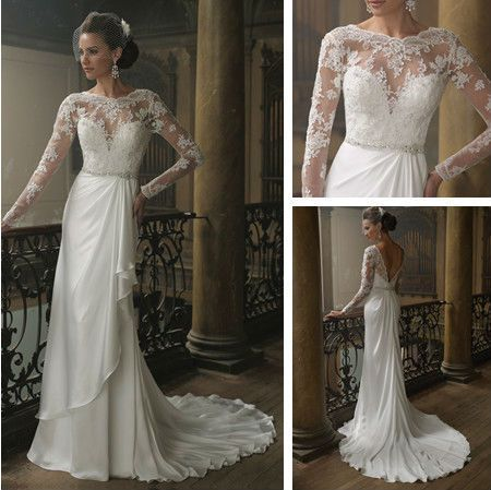 Long Sleeve Lace Wedding Dress Low Back V Shape with Beading Belt  160 0066 best wedding dresses images on Pinterest   Wedding dressses  . Low Back Wedding Dresses Lace. Home Design Ideas