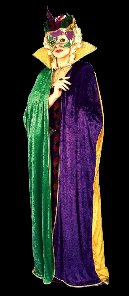 What better way to cover up that sexy VooDoo or Mardi Gras costume than with a deceptively festive Mardi Gras cape?  Mardi Gras Voodoo Masquerade Ball Halloween Party costume ideas.