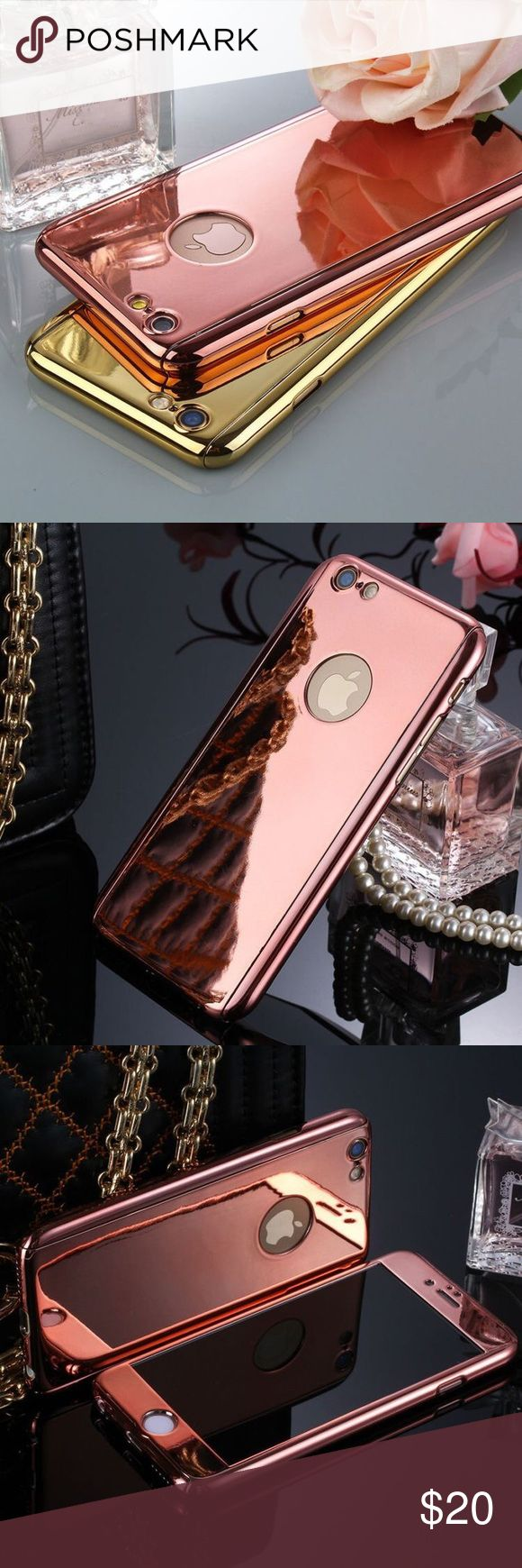 🆕the mirror plated 360° phone case • style name: the mirror plated 360° phone case • color: rose gold • material: alloy & plated metal/9h tempered glass • high shine mirror case w/ front & back pieces • also includes tempered glass protection for screen & camera • fits iphone 6/6s - comment below to request for a different phone • condition: brand new boutique item ____________________________________________________ ✅ make an offer!     ✅ i bundle! ✅ posh compliant closet ⛔️ no trades 🛍…