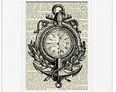 maritime clock - vintage artwork printed on page from old dictionary