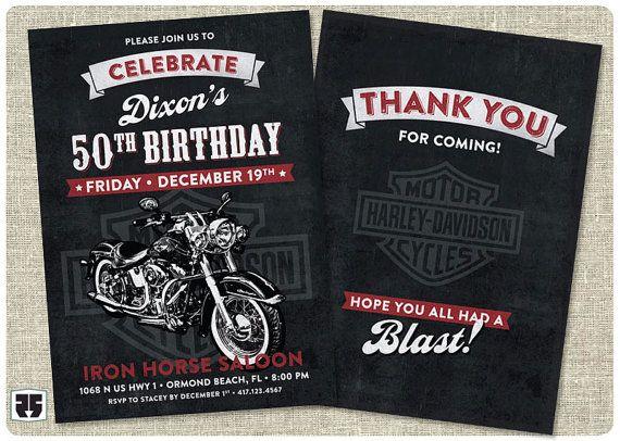 Harley Davidson Biker Birthday Invitation card. Includes 'Thank You' card. - Printable on Etsy, $16.00