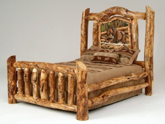 Log furniture burl aspen 4 post log bed with elk for Camas rusticas