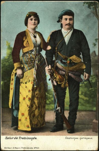 Let it be known- this postcard depicts prosperous Pontian Greeks prior to 1922 -Salut de Trébizonde, Costumes nationaux. Trabzon'dan selamlar, yoresel giysiler.   Trabzon, Eastern Black sea, Turkey.