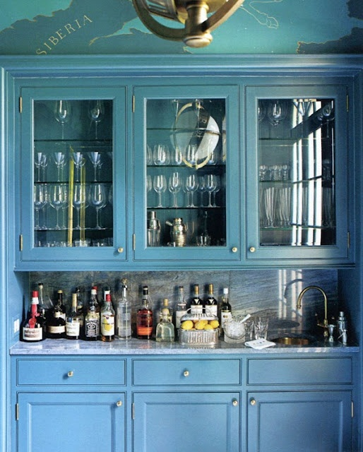 Blue Butleru0027s Pantry/bar, With A Hand Painted Ceiling To Match Grand Central