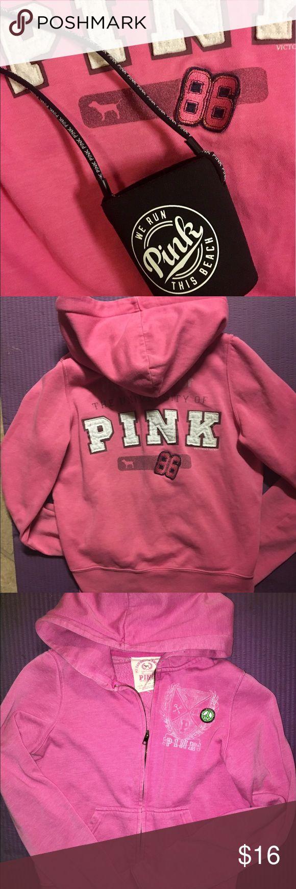 Pink XS Hoodie & koozie Pink zip up Hoodie XS and a Pink brand koozie.     🎁🎁Thankyou Gift with every order🎁🎁 pink Tops Sweatshirts & Hoodies