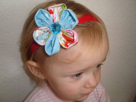 Christmas Hair Flower on a Red Shimmery soft by UnPetitPapillon, $6.50