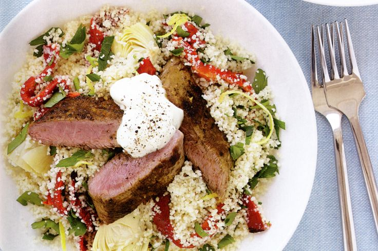 Vegetable couscous with spiced lamb