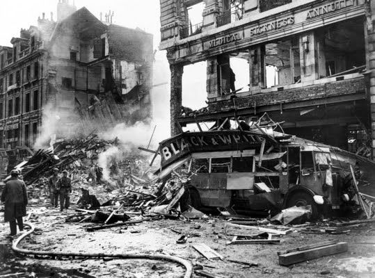 A bombed bus, Holborn, London, c1940.