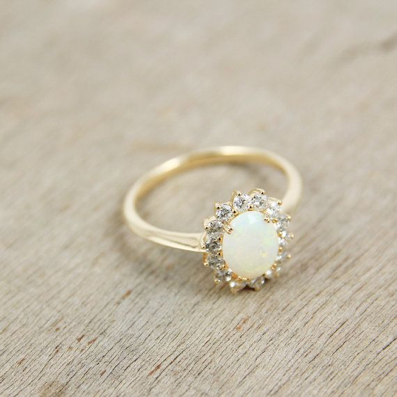 Opal & Diamond Ring in 14K Yellow Gold, Unique Engagement Ring, Anniversary, October Birthstone, White Opal, SKU: R2119