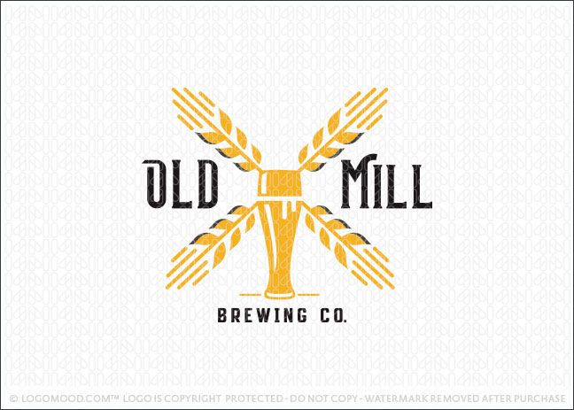Logo for sale by Melanie D - Logomood.com - Sleek, bold and modern beer brewery logo design. This unique logo design combines a tall beer glass with stalks of barley that are designed together to create the impression of a old fashion windmill. This beer themed logo commands attention and creates a bold and memorable look.