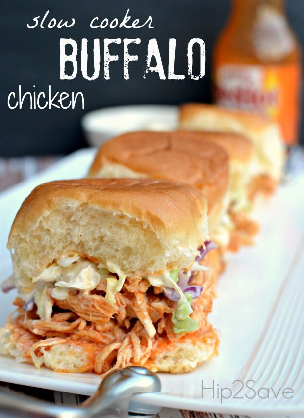 Print: Slow Cooker Shredded Buffalo Chicken Sliders – Hip2Save - Click to view different chicken slow cooker recipes
