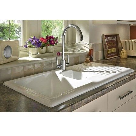 rak 1000 gourmet 15 bowl white ceramic kitchen sink waste kit with reversible drainer 1010 x 510mm. beautiful ideas. Home Design Ideas