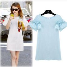 Бабочка рукавом летний льняные платья для женщин лето новинка дамы короткие платья женский белый и голубой платье(China (Mainland))