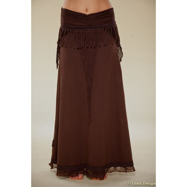 Long Tribal Jersey Skirt Bohemian Skirt Perfect Party Skirt Burning... ($81) ❤ liked on Polyvore featuring skirts, lace skirt, jersey maxi skirt, boho maxi skirt, long brown skirt and brown maxi skirt