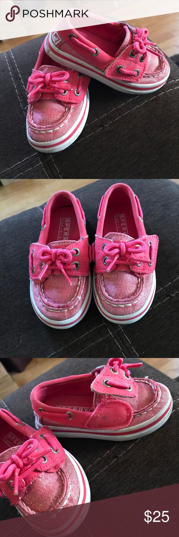 """Pink Sparkly Sperry's These are absolutely adorable! Sperry Top-Sliders """"Seabright Jr"""" for toddler girl, size 5. Maybe only warn 2 times total, great condition! They Velcro so they are really easy to put on, my daughter had no trouble doing it by herself! Sperry Top-Sider Shoes Flats & Loafers"""