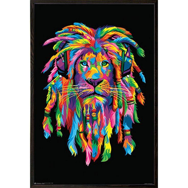 USA 'Lion Rasta' Walnut Wood Architect Frame 24x36 Poster