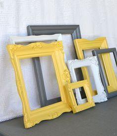 cadre jaune gris et blanc pour chambre gris