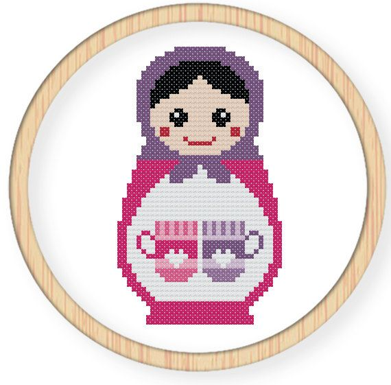 Instant download,free shipping,Cross stitch pattern, Cross-StitchPDF,Russian Doll,Matryoshka Babushkas,zxxc0042