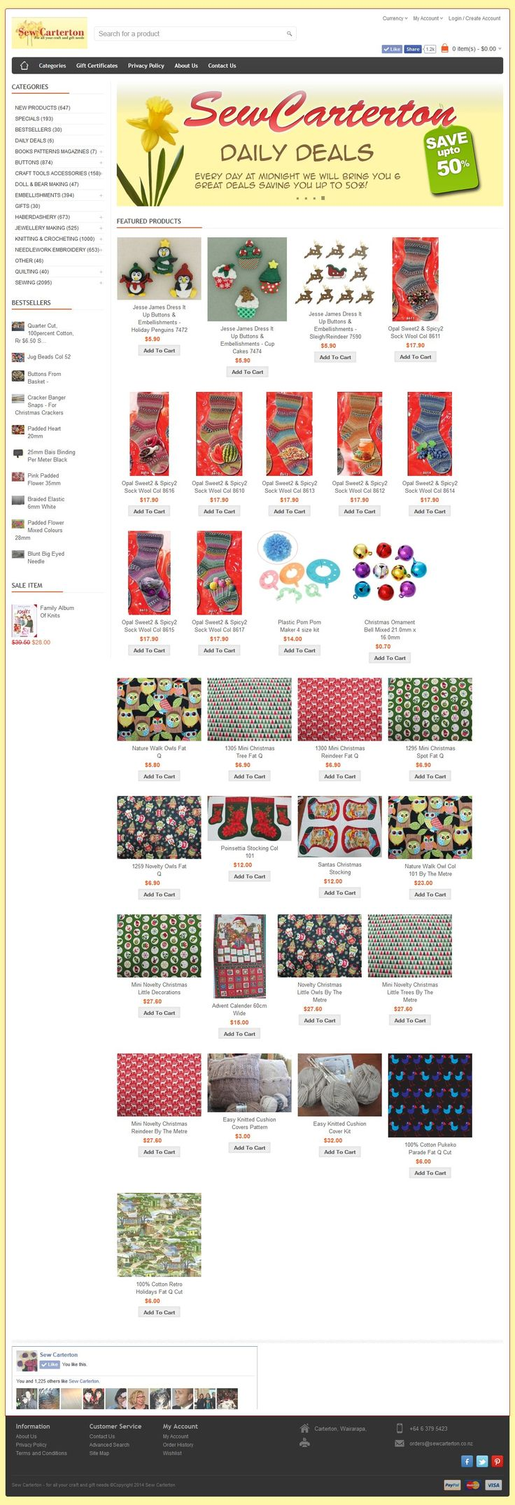 Sew Carterton is a craft, sewing, haberdashery and art business based in Carterton The website is a huge collection of products in an online catalogue, allowing ecommerce purchasing online. www.sewcarterton.co.nz