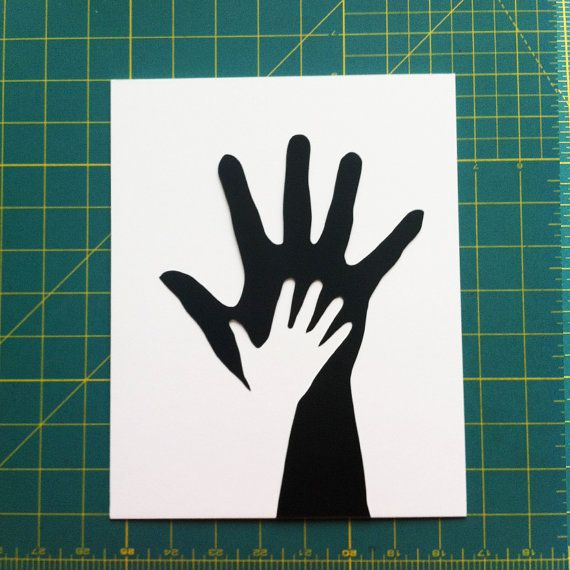 Father Daughter Hands Paper Cutting // I would absolutely love to make something like this w/ Harry and little bean (once they're a bit older) and maybe see if it would work with my hand too? (if not their hands will look adorable) (maybe add colour?) x
