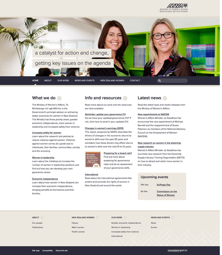 The Ministry of Women's Affairs, website - http://mwa.govt.nz/