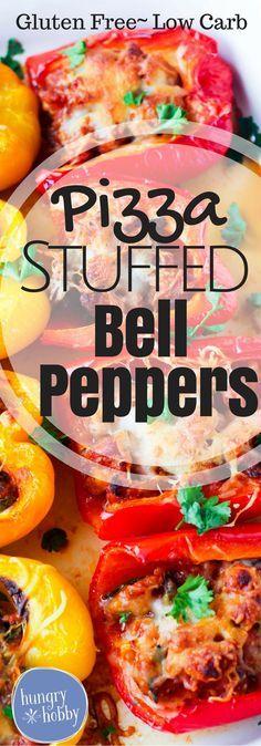 Pizza Stuffed Bell Peppers Gluten Free recipe via www.hungryhobby.net