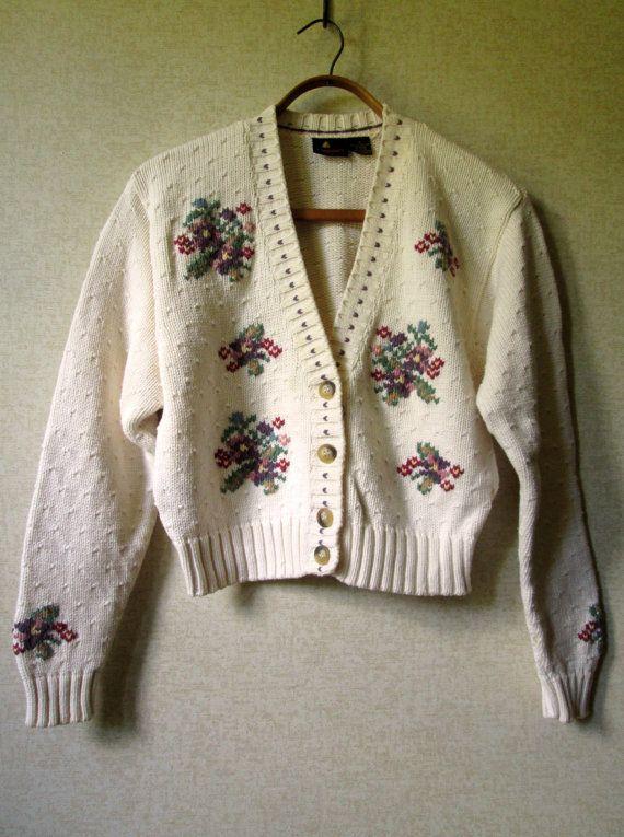 Recadrée Cardigan pull courte en coton Cardigan preppy mori girl vêtements ivoire blanc floral bouton vintage des années 80 90 s femmes petite Liz Claiborne