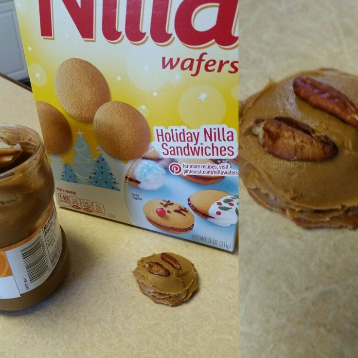 Cookie butter on Nilla wafers with pecan pieces. Yummy!  Any suggestions to make it better?
