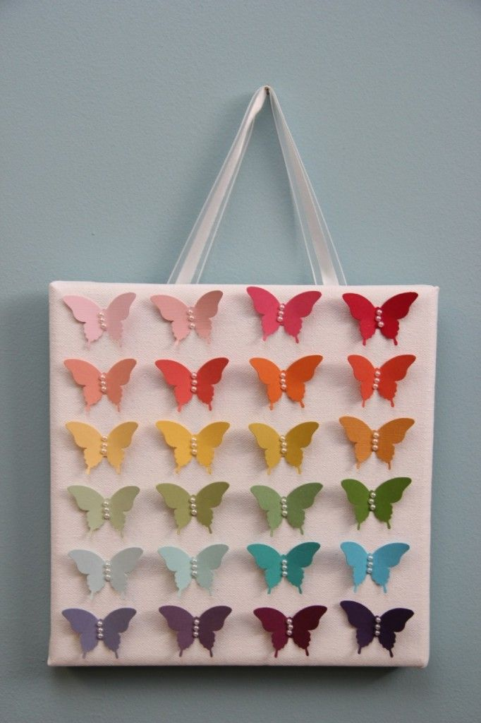 Ombre Butterfly Art Canvas Wall Art - Using Stampin' Up's Elegant Butterfly Punch, Beautiful Cardstock and Pearls.  For more details visit: www.stampinwithrebecca.com