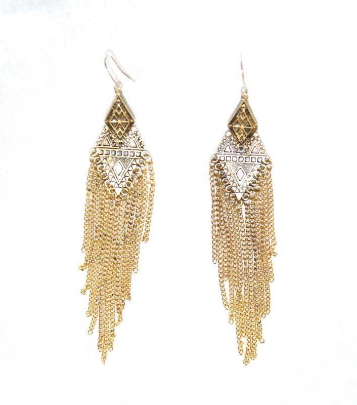 Beweeglijke Oorbellen met kettinkjes. Hippie stijl is weer helemaal terug. 1 pair of Flexible chains earrings.