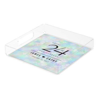Elegant 24th Opal Wedding Anniversary Celebration Acrylic Tray - diy & cyo customize