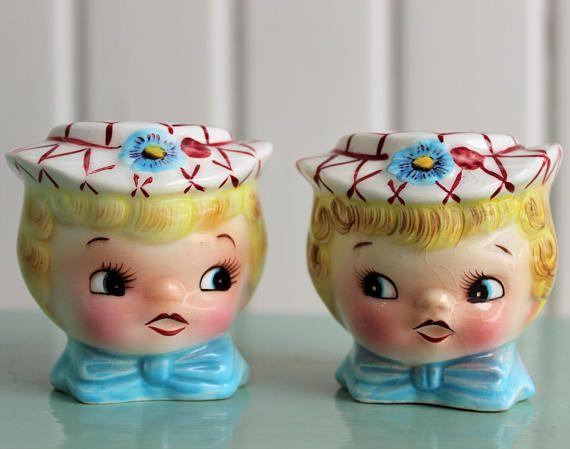 Vintage Kitschy Girl Big Eye Salt And Pepper Shakers  Bright Kitschy Kitchen Salt and Pepper