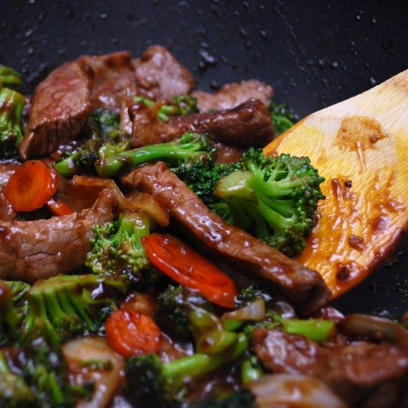 beef with broccoli  - rework without sugar, and oil and serve with brown rice