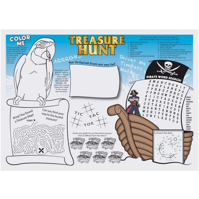 Pirate Paper Placemats Seashore Kids Activity 2 Pirate Themed Birthday Party Kids Pirate Party Pirate Theme Party